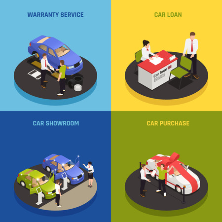 Car dealership concept icons set with car loan symbols isometric isolated vector illustration