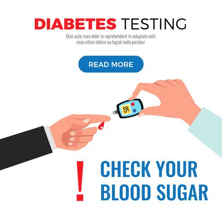 Información sobre la prueba de diabetes sobre cómo controlar el azúcar en la sangre con la ilustración de vector de diseño plano de página web de procedimiento de medidor de glucosa