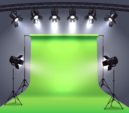 Faretti composizione realistica con ambiente di studio fotografico chroma key cyclorama circondato da luci spot professionali illustrazione vettoriale Vettoriali