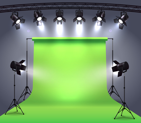 Spotlights realistic composition with photo shooting studio environment chroma key cyclorama surrounded by professional spot lights vector illustration