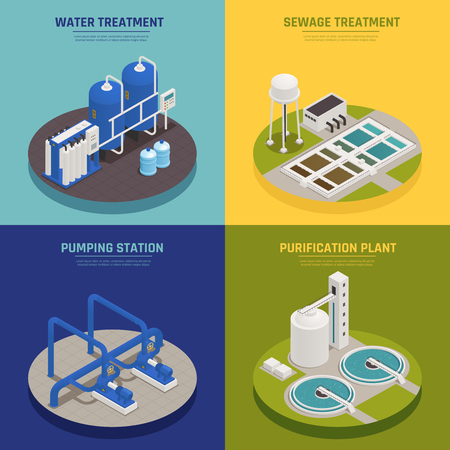 Water cleaning concept icons set with water treatment symbols isometric isolated vector illustration