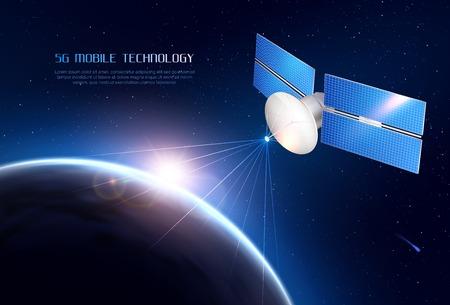 Realistischer Hintergrund der Mobiltechnologie mit Kommunikationssatelliten im Weltraum, der ein Signal an verschiedene Punkte der Erdvektorillustration sendet