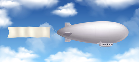 Dirigible airship realistic composition with banner and clouds in the sky vector illustration