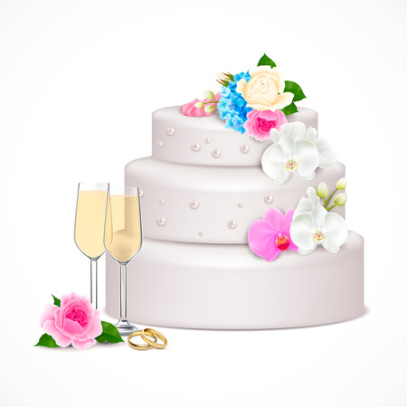 Stylish festive wedding cake decorated with flowers and pair glasses of champagne realistic composition vector illustration