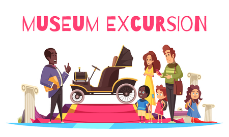 Family couple with kids and guide near old cabriolet during excursion of ground transportation museum vector illustration Standard-Bild - 115370444