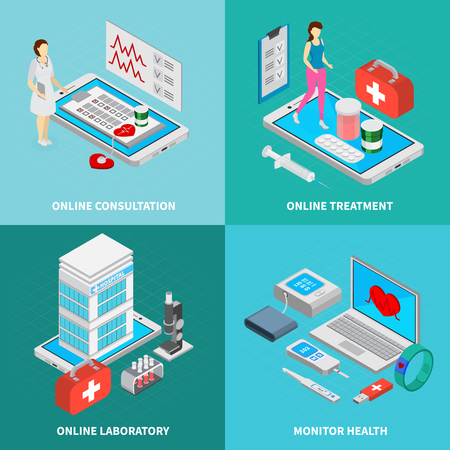 Mobile medicine concept isometric icons set with online treatment symbols isolated vector illustration