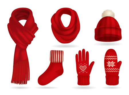 Winter red knitted clothes realistic set with mittens and scarf isolated vector illustration