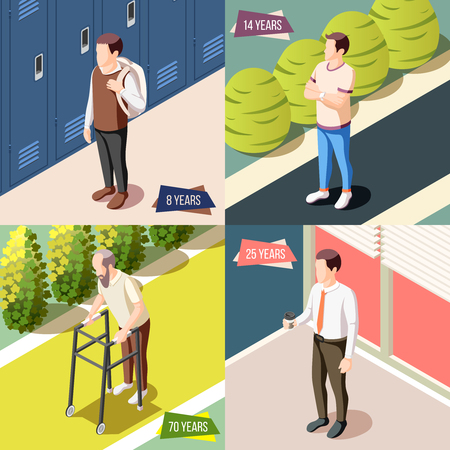 Different generations 2x2 design concept   illustrated male character during various life stages isometric vector illustration