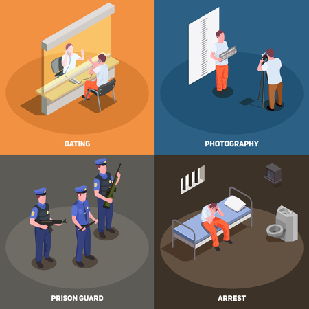 Prison jail concept 4 isometric compositions set with visiting area police photograph guards arrested criminal vector illustration
