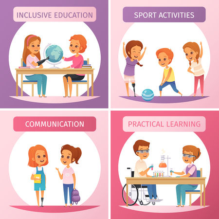 Four squares inclusion inclusive education icon set with inclusive education communication sport activities and practical learning descriptions vector illustration Illustration