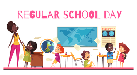 Teacher and pupils during geography lesson in school class room cartoon vector illustration