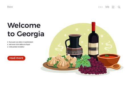 Georgia travel flat web page design with info button and national cuisine dishes wine image vector illustration