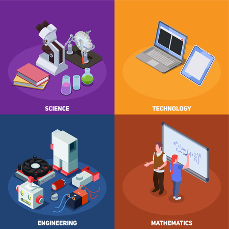 STEM education isometric composition with compositions of books computers elements of scientific equipment and human characters vector illustration