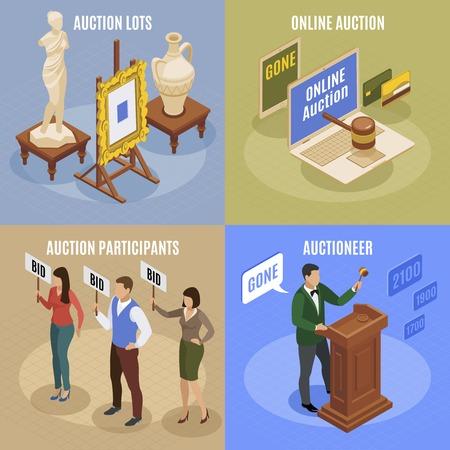 Four auction isometric concept set with auction lots participant and auctioneer descriptions vector illustration Illustration