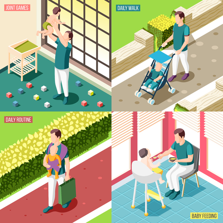 Fathers on maternity leave 2x2 design concept set of daily routine baby feeding joint games and walks square icons isometric vector illustration Illustration