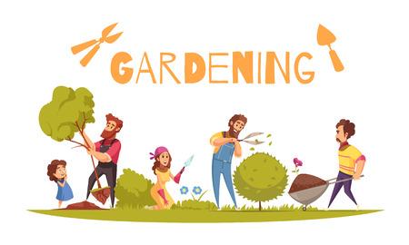 Adultos de composición de dibujos animados de horticultura y niños durante diversas actividades agrícolas en la ilustración de vector de fondo blanco