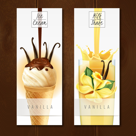 Vanilla flavored desserts 2 appetizing vertical realistic banners with ice cream and milk shake isolated vector illustration