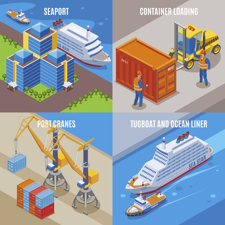 Four seaport isometric icon set with container loading port cranes tugboat and ocean liner descriptions vector illustration