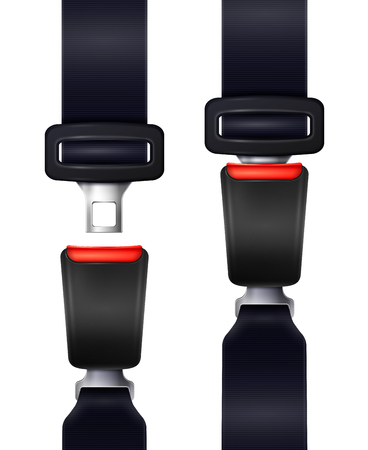 Set of realistic automobile seat belts in fixed and unblocked view isolated on white background vector illustration
