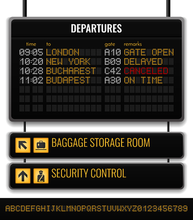 Black airport board realistic composition with baggage storage room and security control pointers vector illustration Illustration