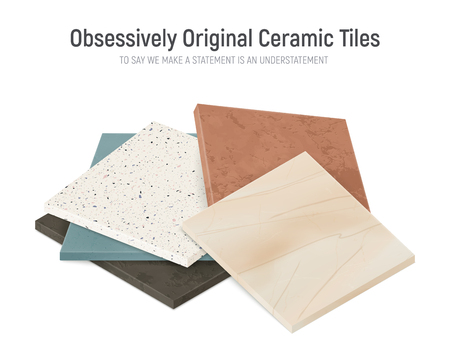Realistic ceramic floor tiles samples composition with bunch of square faced tile patterns with different textures vector illustration