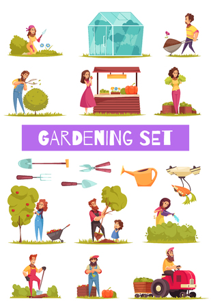 Gardening set of cartoon icons farmers with work tools and equipment during various activity isolated vector illustration Illustration
