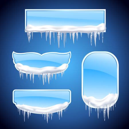 Isolated icicles frames realistic icon set with different shape windows or frames on blue background vector illustration