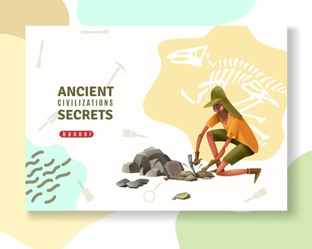 Archeology concept banner with abstract ornaments pictogram silhouettes of digging tools and doodle style human character vector illustration Illustration