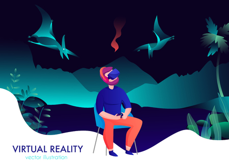 Virtual reality composition with man in goggles watching flying dinosaurs cartoon vector illustration Illustration