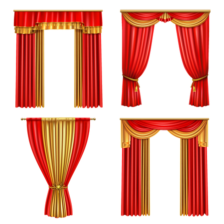 Four different luxury curtains realistic icon set for decoration of event theater vector illustration