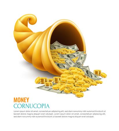 Cornucopia de dinero como símbolo de la riqueza de la suerte del éxito de la generosidad en la ilustración de vector de concepto de diseño realista de negocios Ilustración de vector