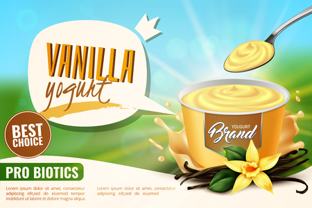 Vanilla yogurt healthy naturally flavored dairy probiotic product realistic advertising poster with appetizingly opened package vector illustration Reklamní fotografie - 116211822