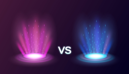 Realistic radiant magic portals pink vs blue with light effects on black background vector illustration 일러스트