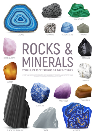 Realistic stone mineral visual guide icon set with rock and minerals visual guide to determining the type of stones headline vector illustration