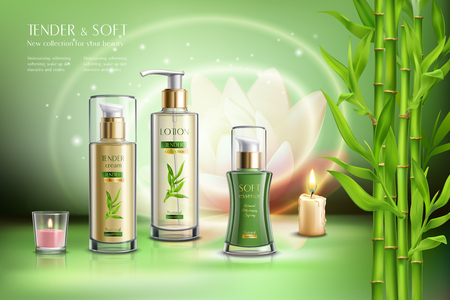 Cosmetics advertising skin softening beauty balm creme moisturizer sprays dispensers aromatic candles bamboo stalks realistic composition vector illustration