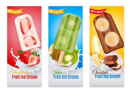 Ice cream realistic banners with advertising of strawberry kiwi and chocolate fruit ice cream isolated vector illustration