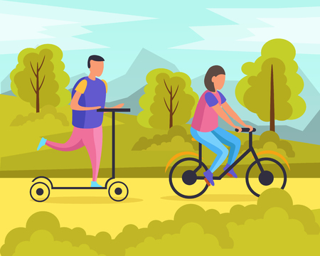 Lazy weekends people flat composition with man and woman riding in the park vector illustration