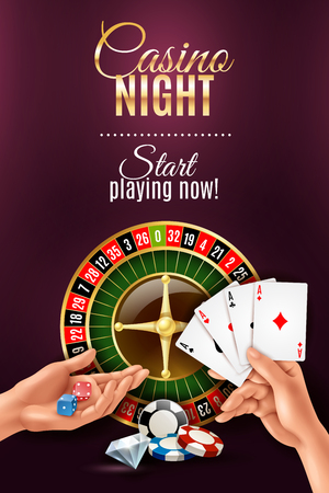 Realistic poster with casino gambling hand games vector illustration