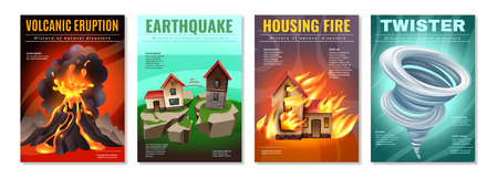 Natural disasters 4 colorful posters set with earthquake housing fire tornado twister volcanic eruption isolated vector illustration