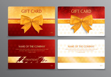 Two way design of discount scratch gift card with place for company name in gold and red colors isolated vector illustration