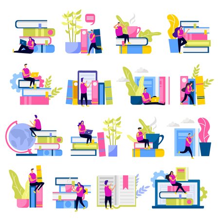 Library set of flat icons human characters with electronic devices and stacks of books isolated vector illustration