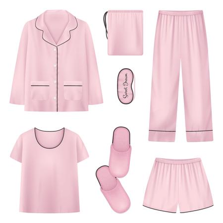 Rosa und isolierte realistische Nachtwäsche Hausschuhe Schlafzeit Icon Set mit Hemd Hausschuhe Hosen Vektor Illustration