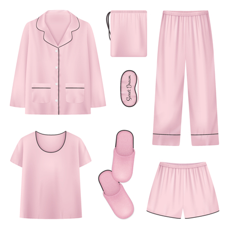 Pink and isolated realistic sleepwear house slippers sleeptime icon set with shirt slippers pants vector illustration