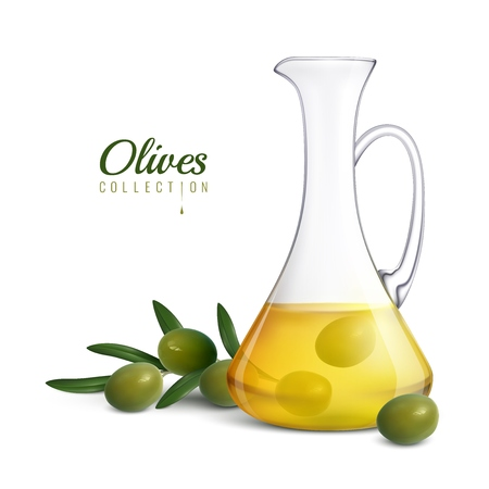 Olives collection realistic composition with glass jug of olive oil and tree sprig with green fresh olives vector illustration