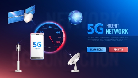 Modern internet technology realistic site design with information about high speed 5g standard data communication vector illustration