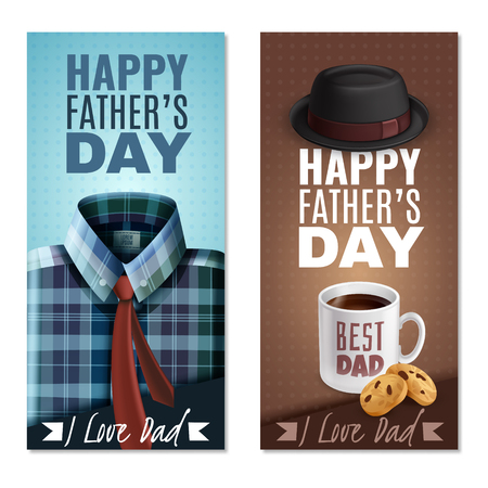 Happy fathers day celebration 2 realistic vertical banners with best dad coffee mug cookies hat vector illustration