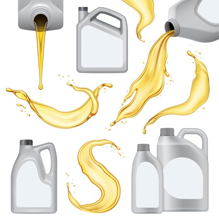 Isolated realistic motor oil icon set with white plastic bottle with yellow liquid vector illustration