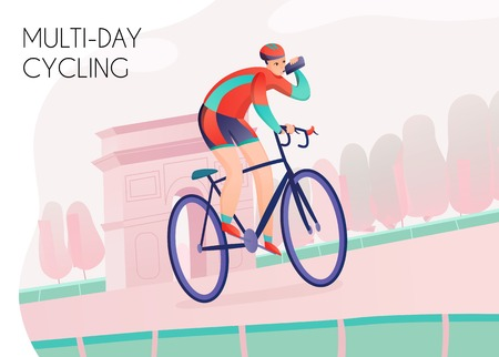 Sportsman with water bottle in bright athletic clothing during multi day cycling on arch background vector illustration Ilustração
