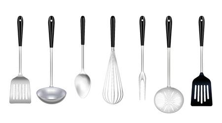 Conjunto realista de herramientas de acero inoxidable de cocina con tenedor de cocina ranurado turner skimmer cucharón batidor aislado ilustración vectorial