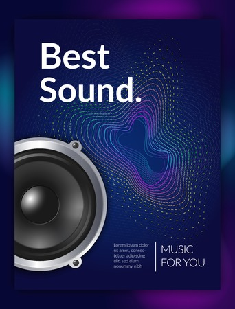 Realistic audio equipment sound for music promotional poster on dark background with wave texture vector illustration